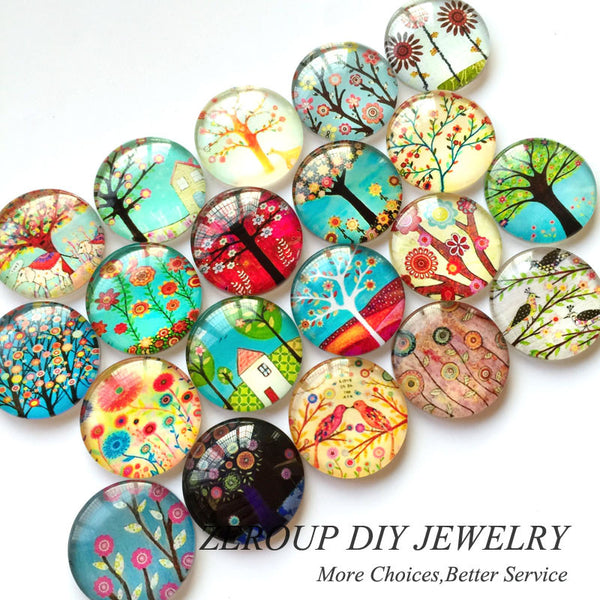 10-16mm HOT Tree Branch Pattern Round Glass Dome Cabochons Mixed Color Flat Back Pictures Fashion DIY Jewelry Findings 50pcs/lot