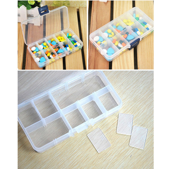10 Slot Jewelry Rings Adjustable Tool Box Case Craft Organizer Storage Beads Compartments Containers BS88