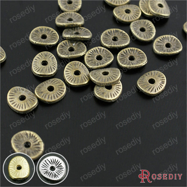 (29958)200PCS 6*5MM Antique Bronze Plated Zinc Alloy Round or curved brushed disks Spacer Bads Jewelry Findings Accessories