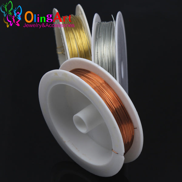 0.4MM 12M/Roll Craft copper wire plated Golden Silver Colored Beading Jewelry Findings DIY Bracelet Earring Making