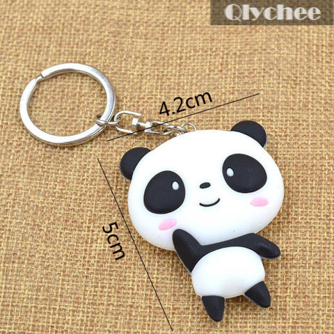 New Silicone Cute Panda Cartoon Keychain Bag Pendant Key Ring Kawaii Gift Present