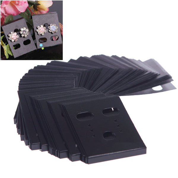 100Pcs Earring Ear Studs Organizer Holder Black Plastic Jewelry Display Rack Custom Printed Earring Cards #55016