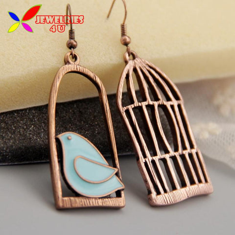 2015 Vintage Earrings Fashion Designer Oil Bird Alloy Bird-Cage Lovely Drop Earring For Women Brincos de gota feminino