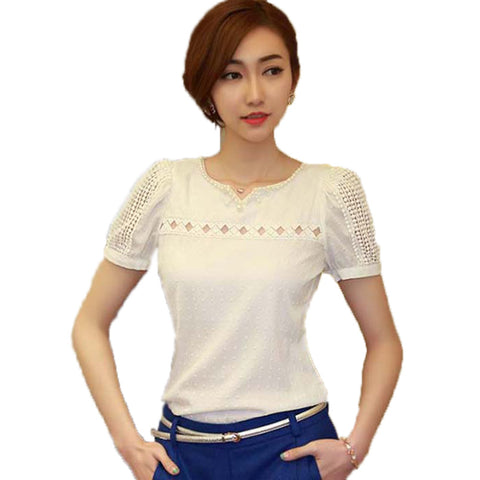 blusas S~XXL Camisas Blusas Femininas  Women Tropical Blusa Lace Short Sleeve Shirt V Neck Doll Chiffon Tops Women Blouses A727