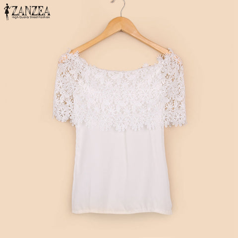 Plus Size S-XXL Blusas 2017 Summer Style Women Sexy Tops Casual Off Shoulder Blouse Chiffon Lace Floral Blouse Solid Shirts