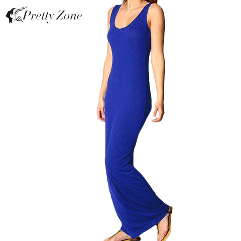 2016 Autumn Dress Sexy Women Maxi Dress Solid O-neck Sleeveless Casual Dress Elegant Evening Party Long Dresses Vestidos