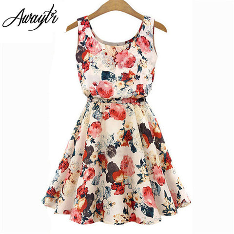 Women Summer Dress 2017 Brand Fashion New  Apricot Sleeveless O-Neck Florals Print Pleated Party Clubwear Formal Dress