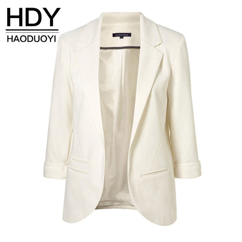 HDY Haoduoyi 2016 Autumn Fashion Women 7 Colors Slim Fit Blazer Jackets Notched Three Quarter Sleeve Blazer Women Coat