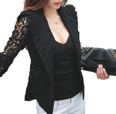 NEW Fashion Sexy Sheer Lace Patchwork Blazer Coat  Lady Suit Outwear Women OL Formal Slim Jacket Black White Plus Size S-3XL