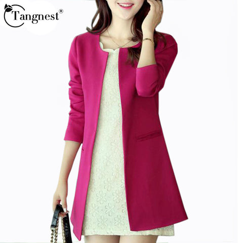 TANGNEST 2016 Women Long Blazer Jackets 4 Colors New Fashion Solid Casual Plus Size Coat OL Blazer Feminino  WWX140