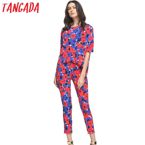 Tangada Fashion Pant Set Women Suit Two-piece Suits Female Trouser Sets Chiffon Red Twin 2 Piece Elegant Floral Tracksuit FF40