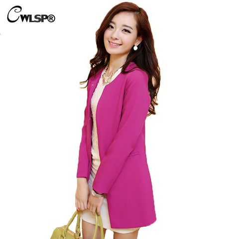 New Candy Blazer Women Spring&Autumn Slim Solid Refresh Coat Elegant Long Jacket Casual Outwear plus size S-3XL QZ403