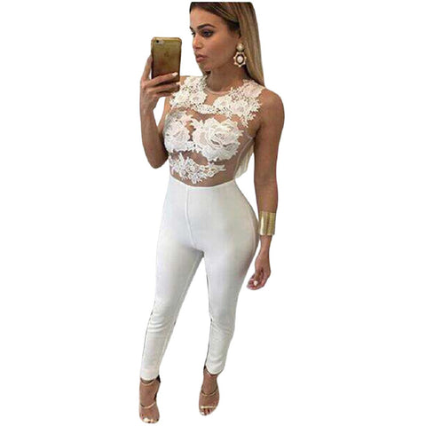 Elegant Lace Up Flower Skinny Bodysuit Sexy Sleeveless Lace Crochet Tops Women One Piece Black Jumpsuit Rompers Playsuit