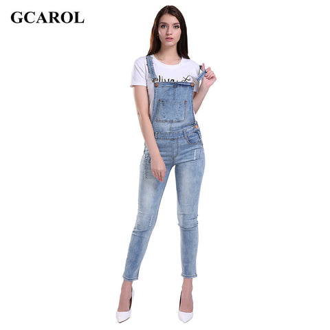 GCAROL Women Ripped Denim Jumpsuits Casual Sexy Stretch Romper Plus Size XL Ladies'Denim Pencil Overalls For 4 season