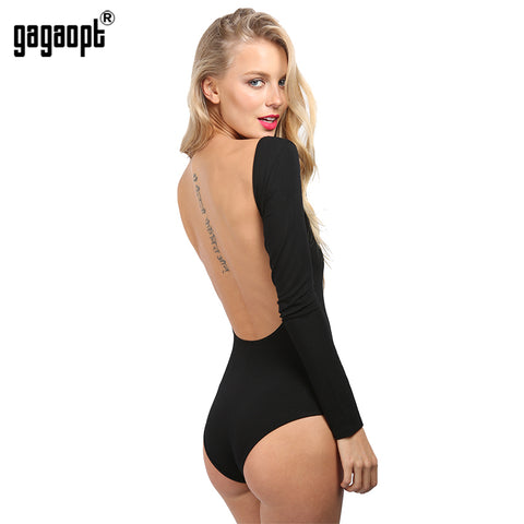 Gagaopt Autumn Backless Rompers Sexy Long Sleeve Women Bodysuit Black Crop Tops Blusa Combinaison Short Femme American Apparel