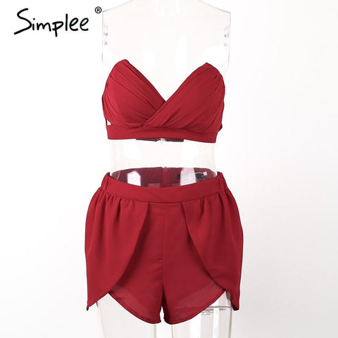 Simplee Sexy padded v neck ruffles chiffon women jumpsuit rompers Hollow out evening party playsuit Two piece overalls