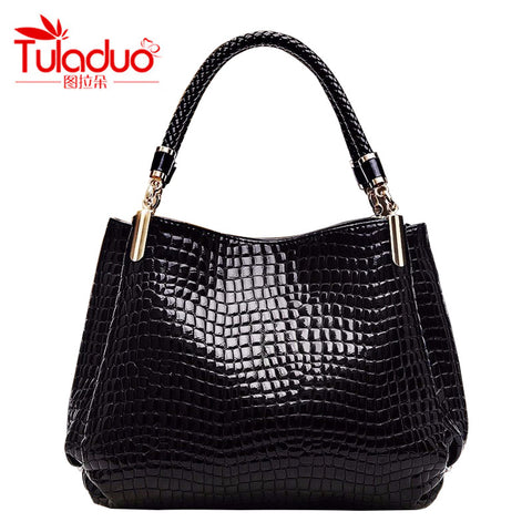 TULADUO 2016 designer Brand Leather bolsas femininas Women bag ladies Pattern Handbag Shoulder Bag Female Tote Sac Crocodile Bag
