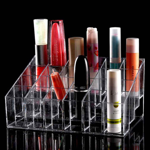 24 Trapezoid Clear Makeup Display Lipstick Stand Case Cosmetic Organizer Case Lipstick Holder Display Stand Clear Acrylic