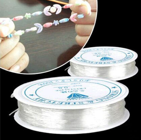 1 ROLL 5M-12M (196-471 inch ) Length  0.5-1.0mm Diameter Crystal Elastic Beading Cord String Thread for DIY Necklace Bracelet