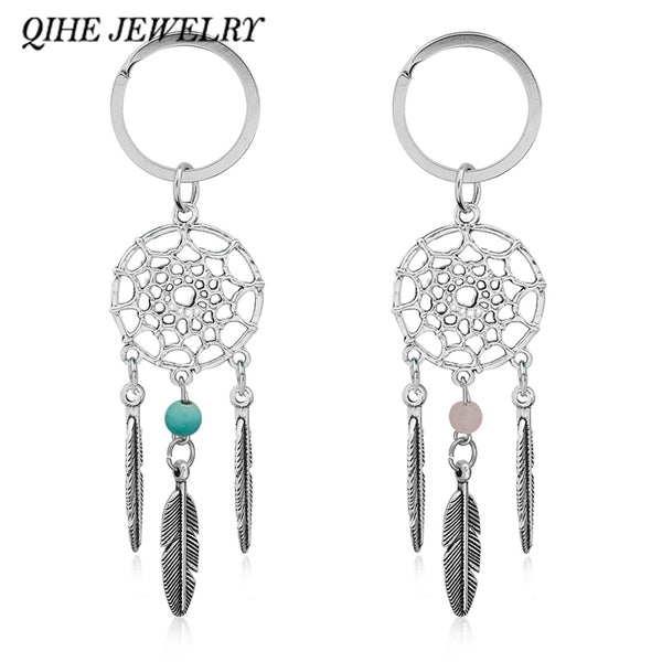 QIHE JEWELRY Gift Pink Black Beads Dreamcatcher Feather Wind Chimes Dream Catcher Key Chain Women Vintage Indian Style Keychain