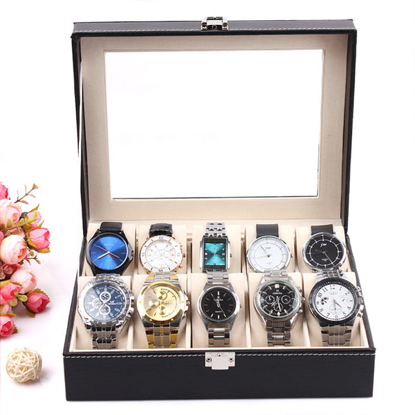 2014 New and Fashion 1PCS 10 Grid White Leather Watch Display Slot Case Box Jewelry Storage Organizer Windowed Case