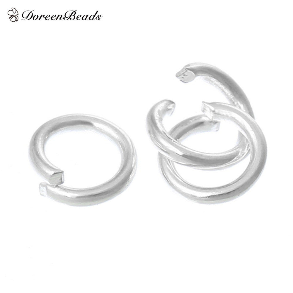 "DoreenBeads Alloy Opened Jump Rings Round Silver Plated 4.0mm( 1/8"") Dia, 300 PCs 2015 new"