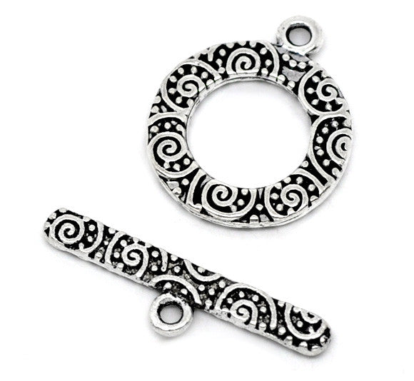 "DoreenBeads Zinc metal alloy Toggle Clasps Round Antique Silver Pattern Pattern 19mm x16mm(6/8""x5/8"")24mm x6mm(1""x2/8""),3 Sets"