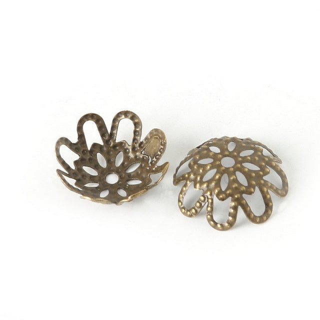 Hollow Flower Metal Filigree Loose Spacer Bead Caps Silver Gold Bronze 200pcs /lot 3x14mm DIY Jewely Findings