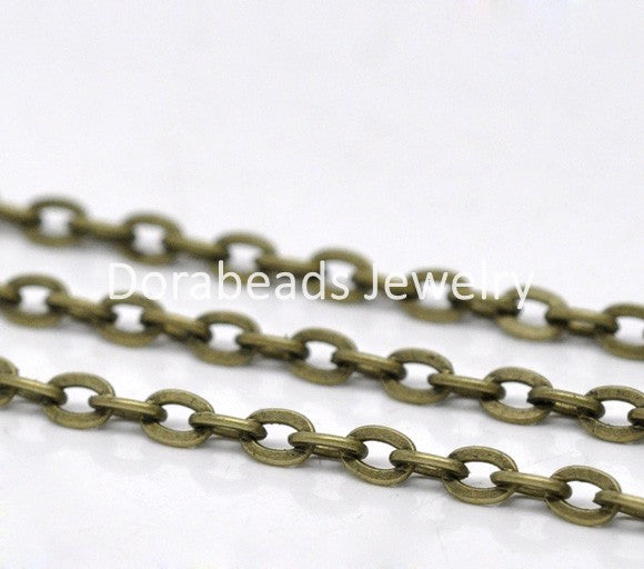 DoreenBeads 10M Bronze Tone Flat Link-Opened Chains 4x3mm (B12779), yiwu