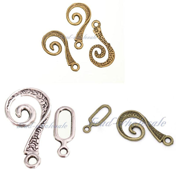 Tibetan Antique Silver Vortical Snail Shape Toggle Clasps Hooks Connectors for Jewelry Making 10 sets