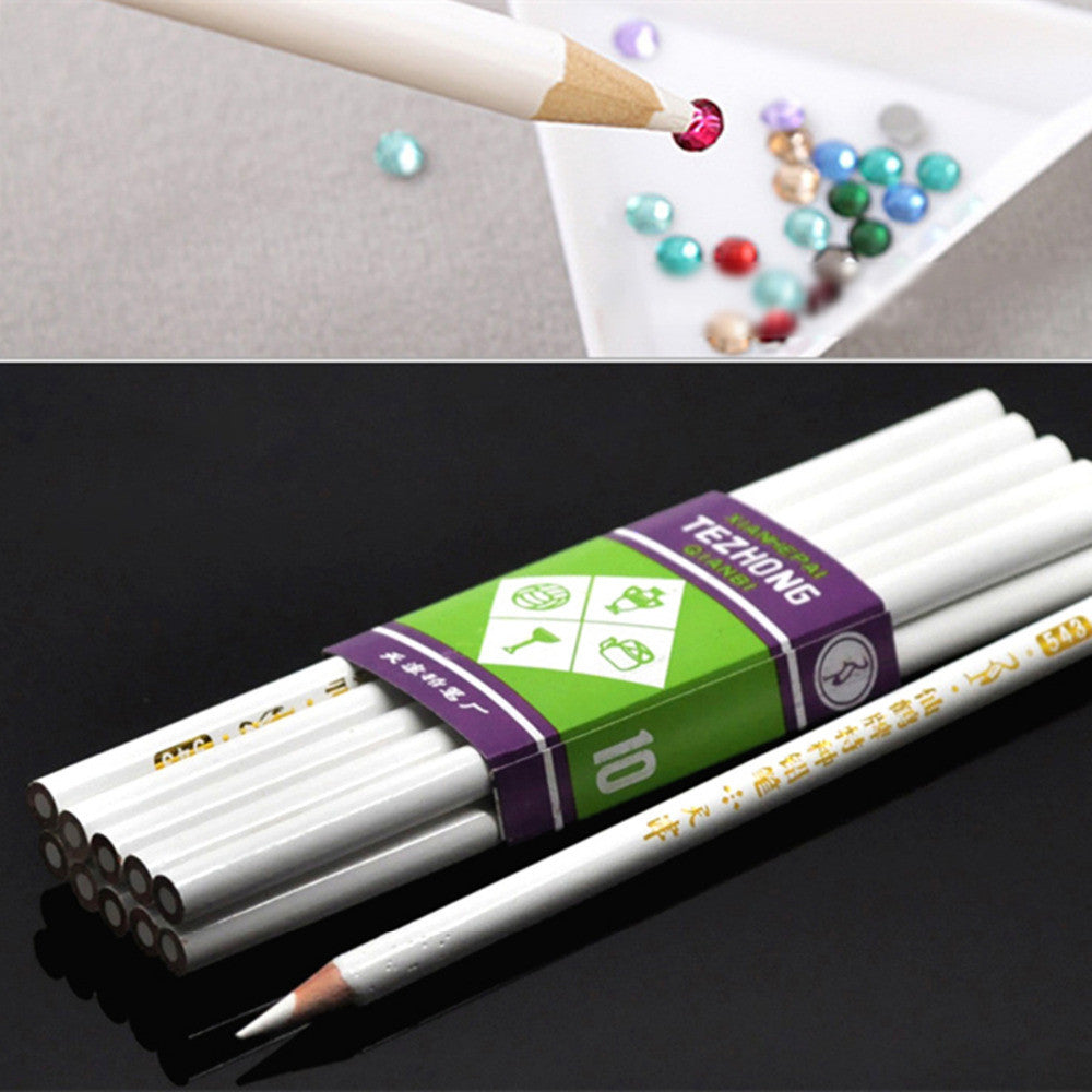 DoreenBeads 10PCs Rhinestone Pickup Pencils Tools for Nail Art jewelry making DIY Scrapbooking white 17.5cm long (B19861)