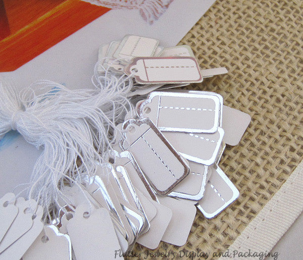Free Shipping 100pcs/lot  Silver One String Price Label Paper Pricing Tags 22x13mm (#FL0801)