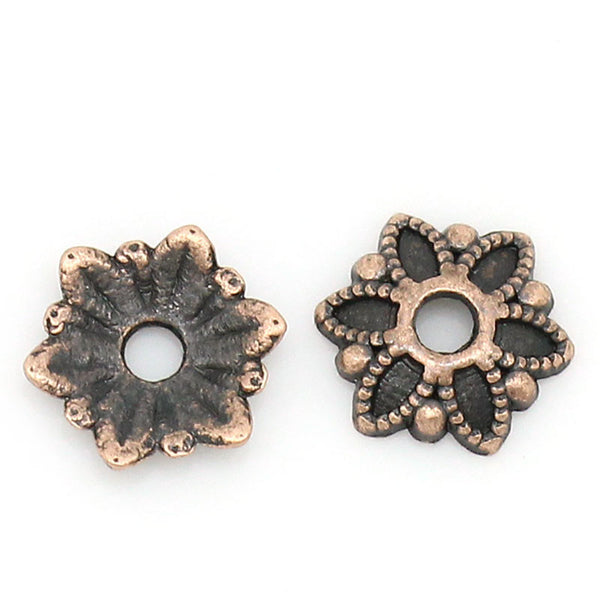 "DoreenBeads Zinc metal alloy Beads Caps Flower Antique Copper (Fits 18.0mm Beads) 7.0mm( 2/8"") x 7.0mm( 2/8""), 50 PCs 2015 new"