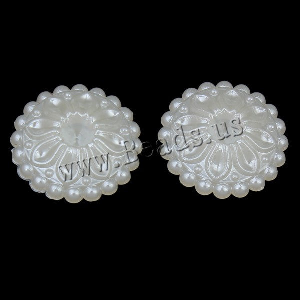ABS Plastic Pearl Cabochon Setting, with OPP, Flower, flat back, white, 20x4mm, Inner Diameter:Approx 4mm, 50PCs/Bag