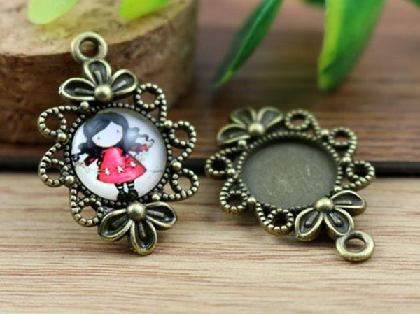 16pcs 12mm Inner Size Antique Bronze Fashion Style Cabochon Base Cameo Setting Charms Pendant (A1-37)