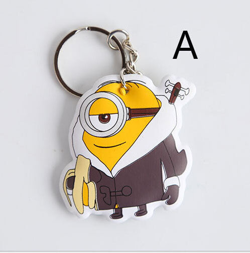 Cartoon Movie Minions Toys Keychain Little Cotton Filling Keyring For Children Key Chain Trinket