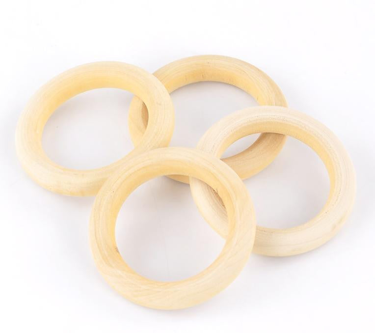 DoreenBeads Wood Pendants/Connectors Jewelry Making Findings Circle/Ring Natural 5.6cm Dia,20PCs (B22188), yiwu