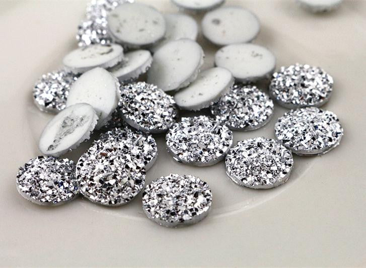 New Fashion 40pcs 12mm Silver Color Flat Back Resin Cabochons Cameo  G5-08