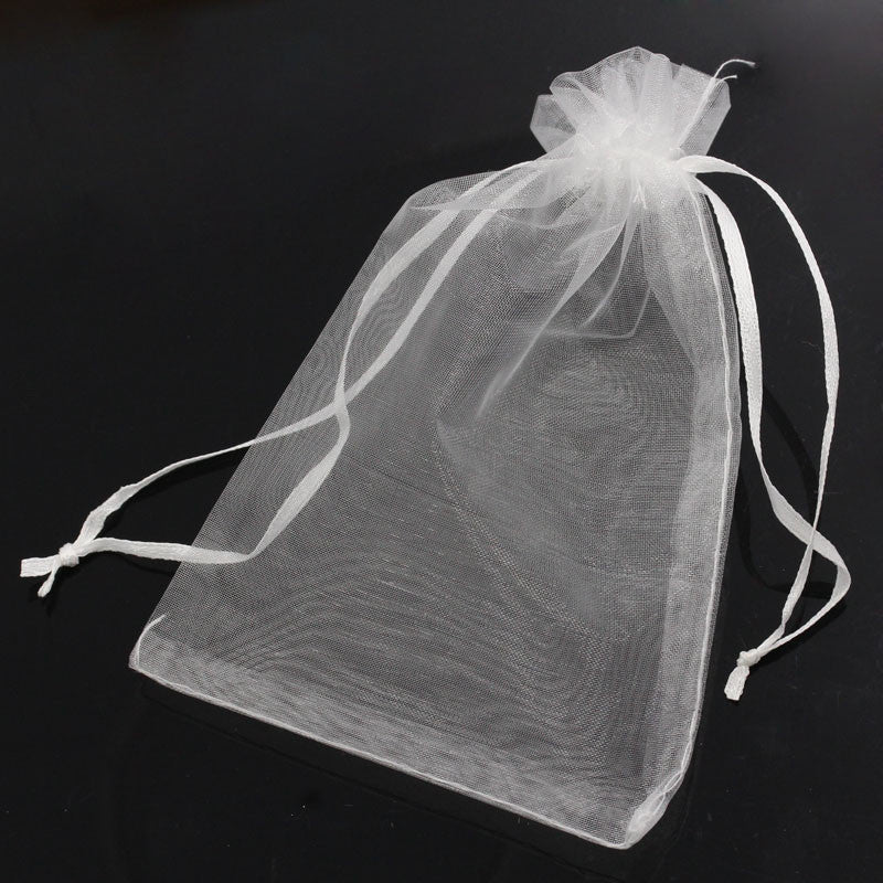 50PCs 10x15cm Organza Wedding Gift Jewelry Bags Pouches White Fine Gifts Package Storage Organizer