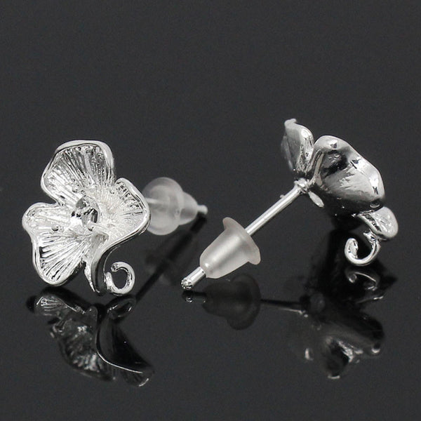 "2016 Hot 10PCs Silver Plated Earring Posts Beautiful Flower Copper Earring Back 17mmx12mm(5/8""x4/8"") Diy Fine Jewelry Findings"