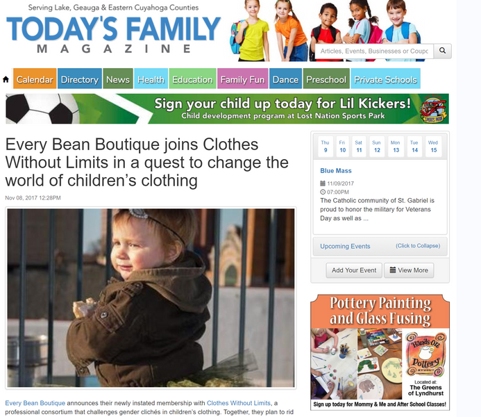 Today's Family Magazine: Every Bean Joins Clothes Without Limits
