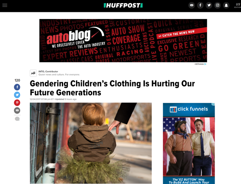 Huffington Post: Gendering Children's Clothing Is Hurting Our Future Generations