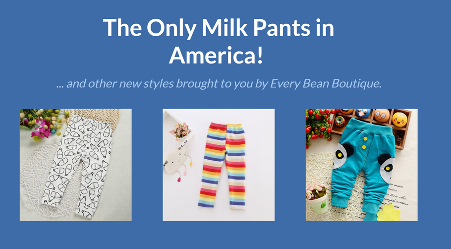 New Product Alert!!! Pandas, Milk, and Rainbows, oh my! Check out these new toddler pants.