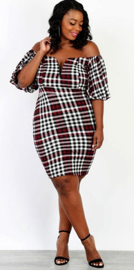 Burgundy Plaid Dress - Foxy And Beautiful