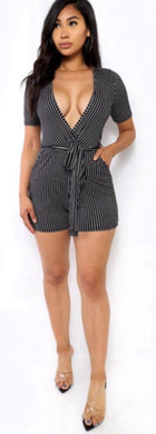 Pinstriped Romper - Foxy And Beautiful