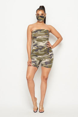 Camo Jumpsuit W/ Face Mask - Foxy And Beautiful