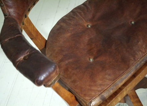 antique leather chair close up