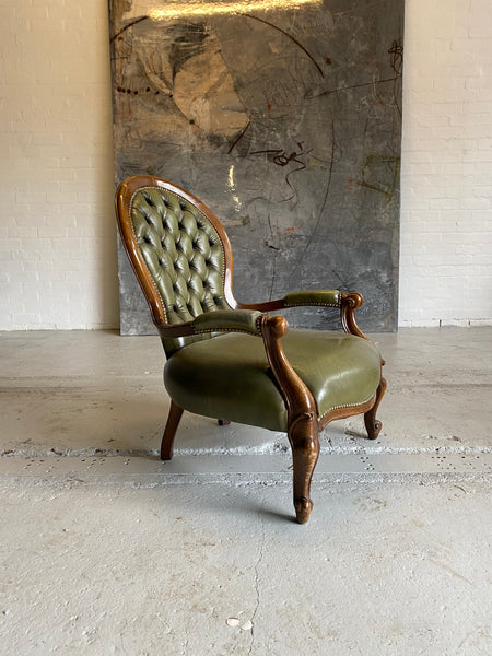 Lovely Carved Side Chair in Olive Green Leathers