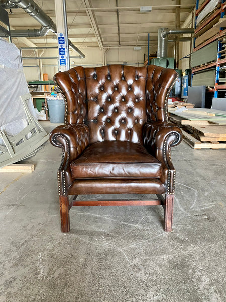 A Very Handsome MidC Hand Dyed Georgian Style Wing Chair
