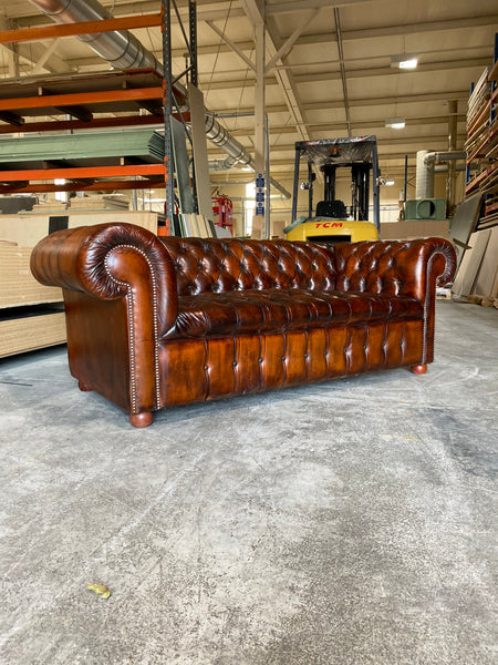 A Beautiful 4 seat Vintage Chesterfield Sofa Hand Dyed Leathers